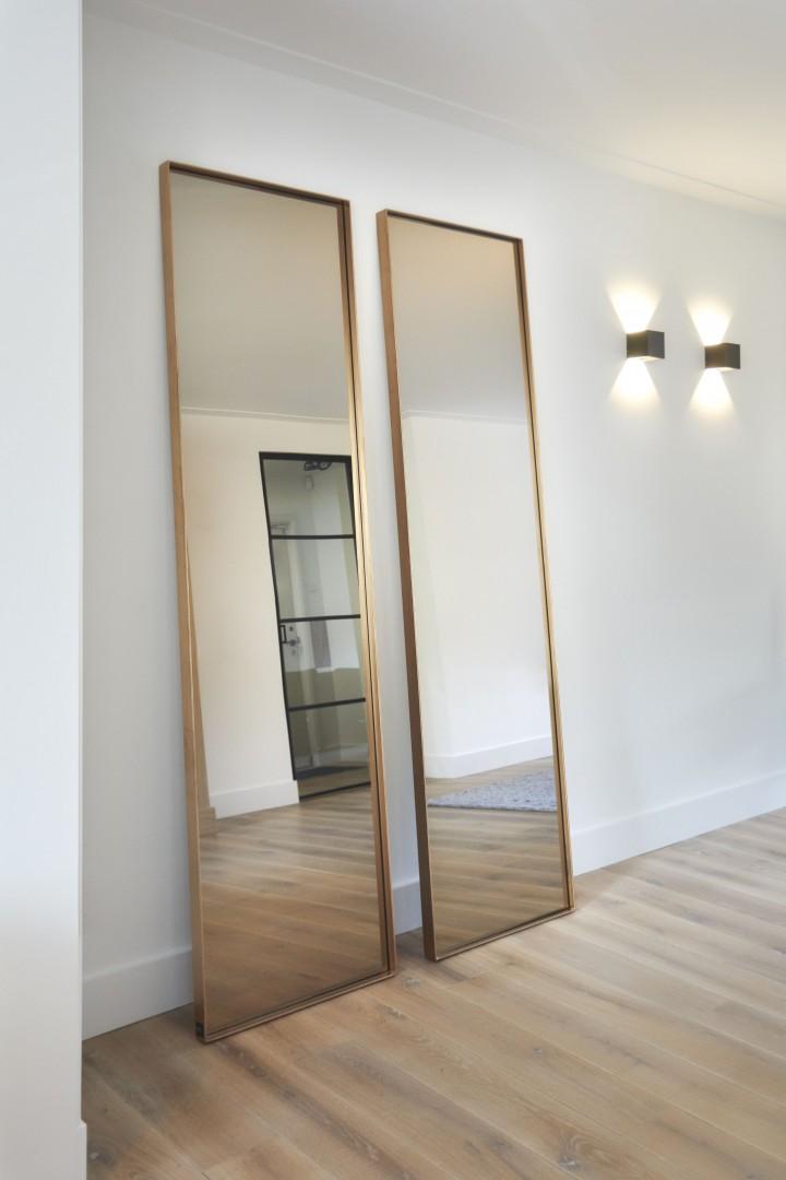 Frontstaal stalen spiegel brons