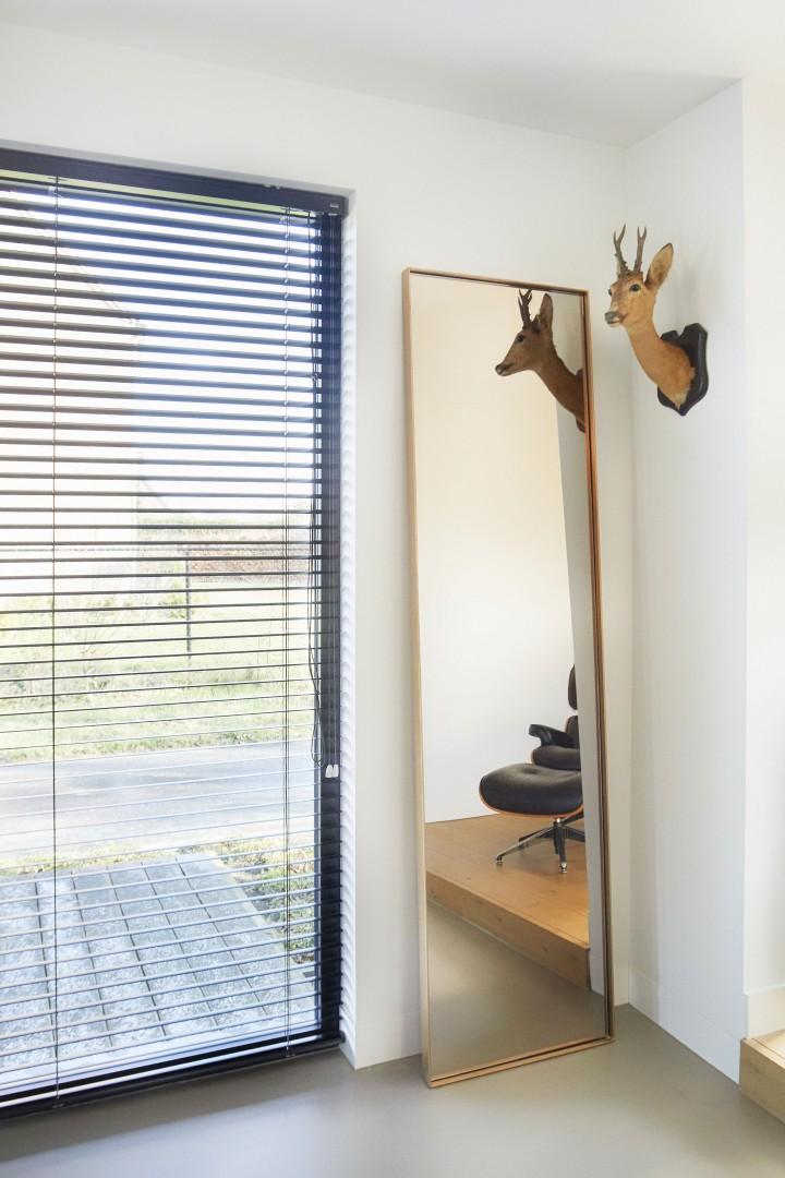 Stalen spiegel brons, gebronsd glas