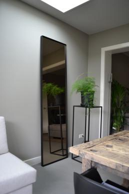 Frontstaal XL stalen spiegel zwart met gebronsd glas